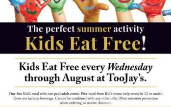 Toojay's Kids Eat Free 2018