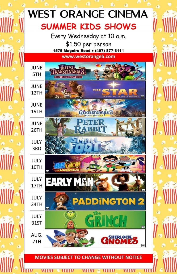 West Orange Summer Kids Movies 2019