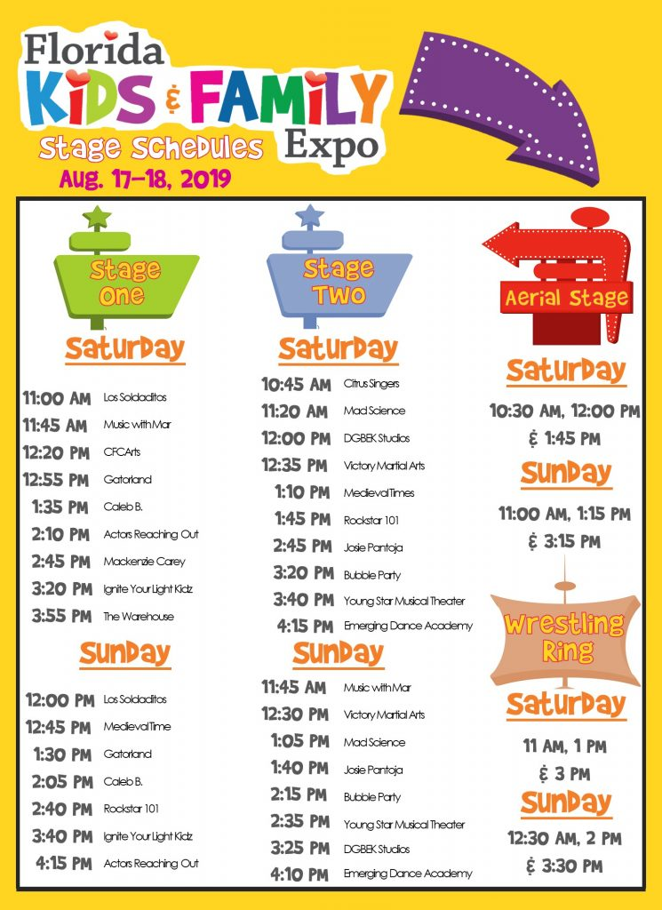Florida Kids and Family Expo Stage Schedule 2019