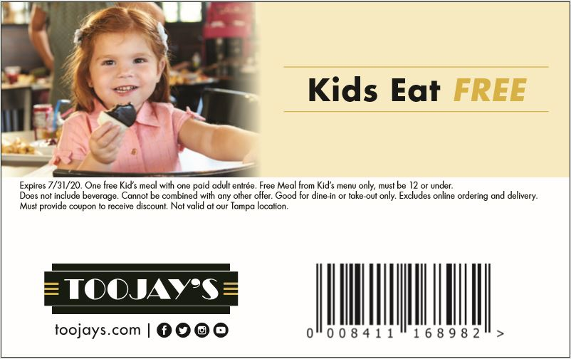 Toojay's Kids Eat Free to Help Families This Summer
